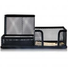 得力办公用品 9175多功能网纹组合笔筒  创意 时尚 文化用品  黑色
