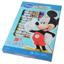 真彩016-36色油画棒迪士尼米奇儿童无毒油画棒六角形蜡笔学生文具