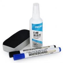 得力(deli)7839 白板擦写组合 清洗剂+板擦+白板笔 清洁剂液
