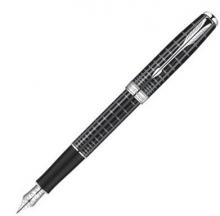 派克(PARKER) 08款卓尔 纯黑丽雅格子纹白夹钢笔/墨水笔
