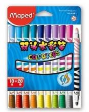 Maped马培德847010 10支20色可水洗双头水彩笔