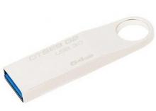 金士顿(Kingston)读速100MB/s DT SE9G2 64GB USB3.0 金属U盘 银色亮薄