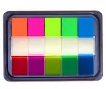 齐心(COMIX)D7011EC 荧光膜抽取式指示标签(44x12mm)20张*5色 3个装