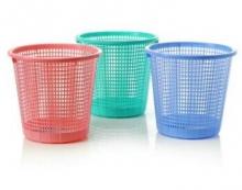 国产精致细网格中号办公室家用塑料纸箩塑料垃圾桶