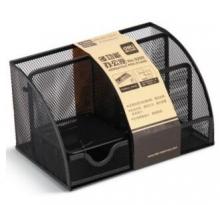 得力(deli) 9200 大气金属网纹多功能办公组合笔筒 黑色
