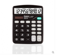 齐心(COMIX)C-837H 中台超省钱经典计算器 12位 黑色 新老包装随机发货