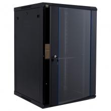 昆普18U网络机柜1米 标准19英寸 冷轧钢板加厚钢化玻璃壁挂墙机柜18U