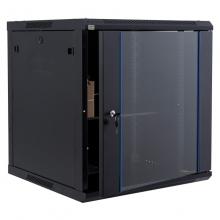 昆普12U网络机柜0.7米 标准19英寸 冷轧钢板加厚钢化玻璃壁挂墙12U