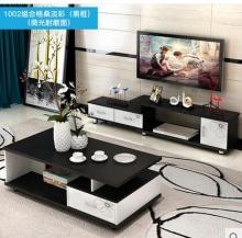 耐家 电视柜茶几组合套装 黑白色