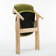 国产 现代简约布艺可折叠椅 (原木色木架+绿色麻布)