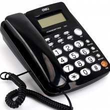 得力(deli)787 免电池来电显示座机 时尚免提办公家用电话机(黑)