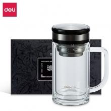 得力(deli)320ml双层隔热玻璃杯 商务手柄茶杯 礼盒装 8989