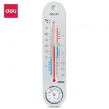 得力(deli) 9013 挂壁式室内水银温度计 家用湿度计 银色