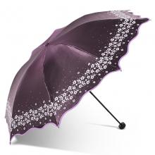 天堂伞  LHCS3 黑胶折叠遮阳防晒伞 变色闪光 海棠红