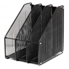 三联文件框 三栏金属文件框 铁网文件架 文件座 黑色