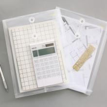 得力(deli)5511 文件袋 A4 透明按扣公文袋 白色绕绳 单个装
