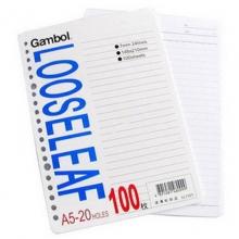 渡边(Gambol) LL1101 A5 20孔活页替芯100页/本