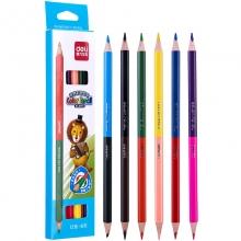 得力(deli)双头12色彩色铅笔/填色笔/彩铅 6支纸盒装 6594