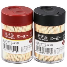 唐宗筷 2罐1000支 牙签 黑+红简约2罐装牙签 家用竹牙签 C6229