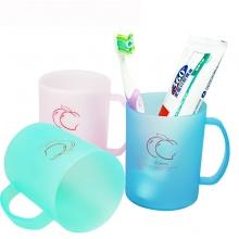 茶花 磨砂塑料刷牙漱口杯牙刷缸水杯子 颜色随机
