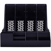 得力(deli) 78981 加厚型带笔筒四联文件框 (黑色)