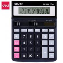 得力 (deli) 1602 双电源办公桌面计算器 黑色