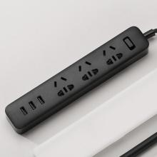 小米(MI) 3USB接口+3孔位 2A快充 插线板 1.8米 黑色