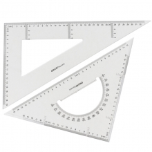 得力(deli)6420 塑料透明三角尺套装 18cm