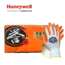 霍尼韦尔 HONEYWELL YU138天然乳胶掌浸防滑耐磨耐油机械工作手套劳保防护手套7码誉系列100副/箱