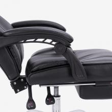 得力(deli) 87088 电脑椅 伸缩搁脚老板椅 联动扶手办公椅 可躺皮椅子黑色