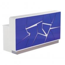 国产  白底蓝色不规则裂纹图案 前台接待台