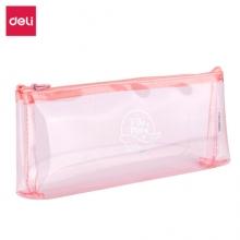 得力(deli) 66814 透明学生笔袋 简约防水铅笔盒 可放20CM直尺文具盒女 粉色