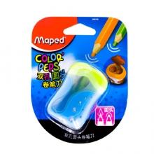 马培德 Maped 双孔圆头卷笔刀 可削粗杆细杆铅笔彩铅转笔刀 学生粗孔大孔削笔器 蓝色 043110CH