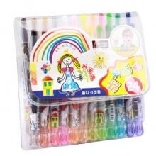 金万年 G-0172A  可爱娃娃短杆24色套装旋转蜡笔-多颜色
