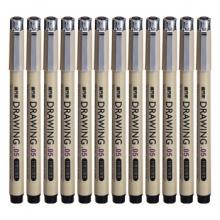 金万年 G-0951  亮银夹专业0.1mm金属针管绘图笔-黑色