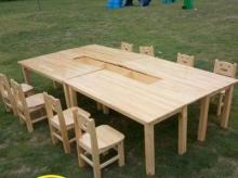 实木学校美术桌椅 美术培训课桌椅套装 双层带屉 1桌8-10凳(此款定制尺寸,下单请备注)
