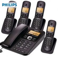 飞利浦(PHILIPS)  DCTG182 无绳电话子母机 一拖四 (黑色)