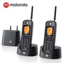 摩托罗拉(Motorola) O202C 远距离数字无绳电话机 无线座机 子母机套装(黑色)
