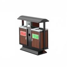 户外分类环保垃圾桶大号  豪华款+塑胶木(咖啡色)
