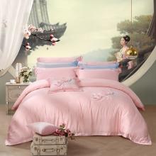 富安娜 家纺天丝贡缎刺绣被套简约四件套苏绣高级床品床单 兰洲梦蝶 1.8M(6英尺)床
