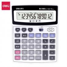 得力(deli)水晶按键12位记忆储存语音计算器 大屏音乐闹钟语音计算机 银灰1529