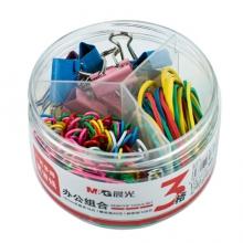 晨光(M&G)文具3格办公用品组合套装 (19mm长尾夹16枚+回形针120枚+橡皮筋30枚)/盒 ABS92892
