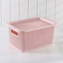 国产 藤纹塑料镂空收纳箱有盖储物盒收纳盒