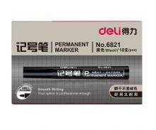 得力 6821 记号笔 1.5mm 10支/盒 (单位:支) 黑