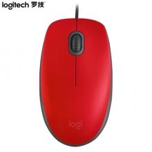 罗技(Logitech)M110 鼠标 有线静音鼠标 红色