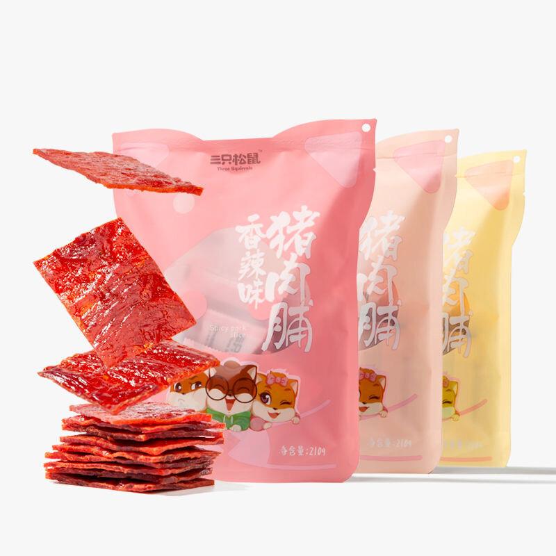 三只松鼠 猪肉脯 休闲小吃猪肉干 靖江风味 210g/袋
